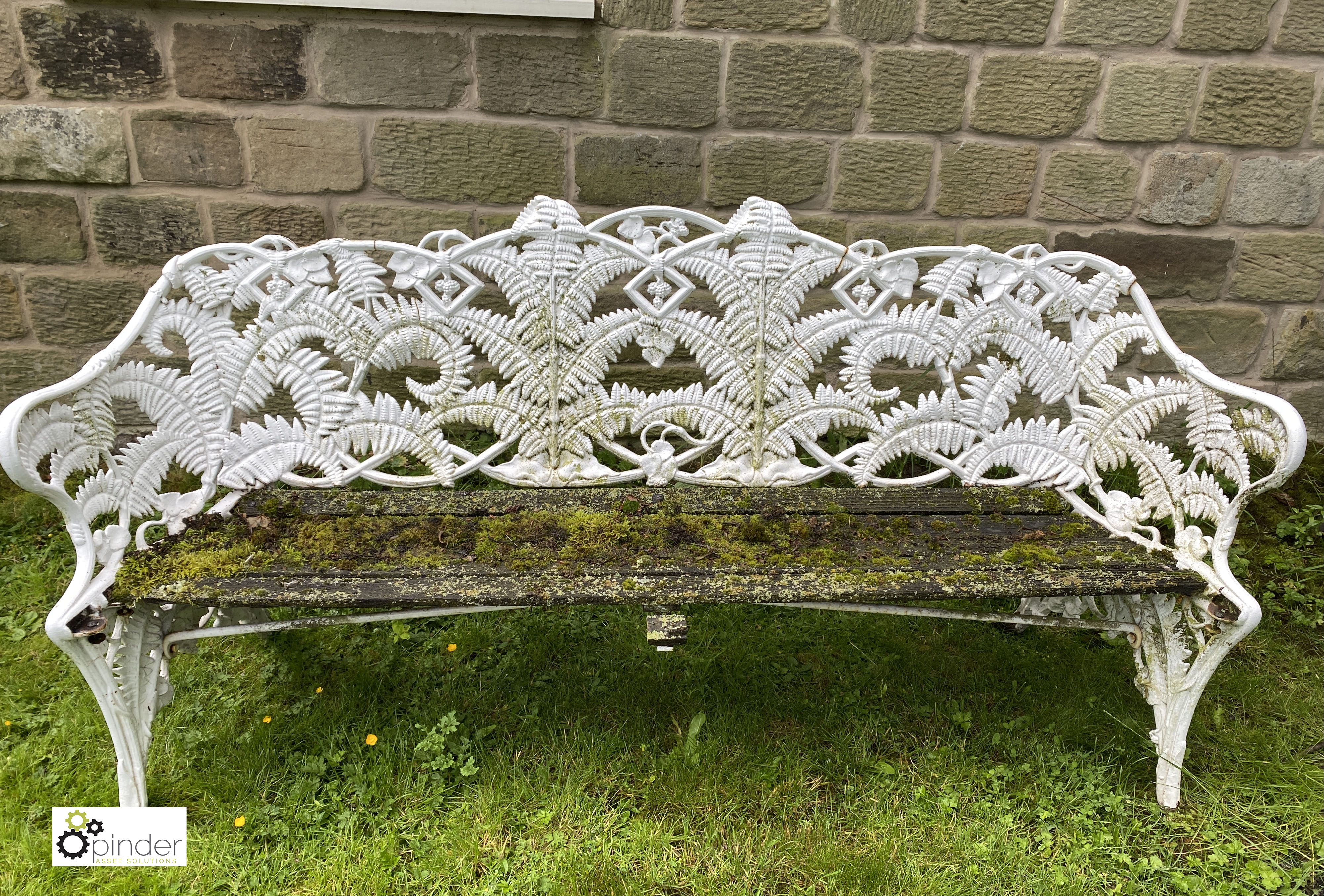 Decorative cast iron Garden Bench, with timber seat, 1890mm wide (LOCATION: Todwick, Sheffield)