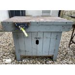 Miniature timber Joiners Workbench, 915mm x 610mm x 710mm high, with double door cupboard and Record