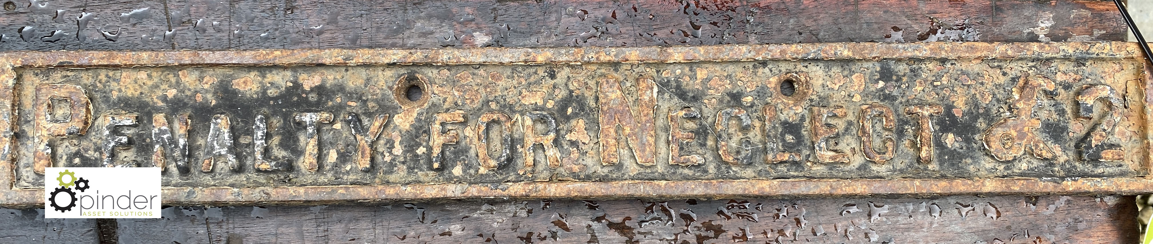 Cast iron Sign 'Penalty for Neglect £2', 500mm x 65mm (LOCATION: Todwick, Sheffield) - Image 2 of 2