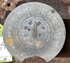Steel Sundial Face, damaged, 200mm diameter (LOCATION: Sussex Street, Sheffield)
