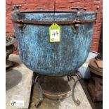 Large copper Cauldron mounted steel stand, 670mm diameter x 550mm deep (LOCATION: Sussex Street,