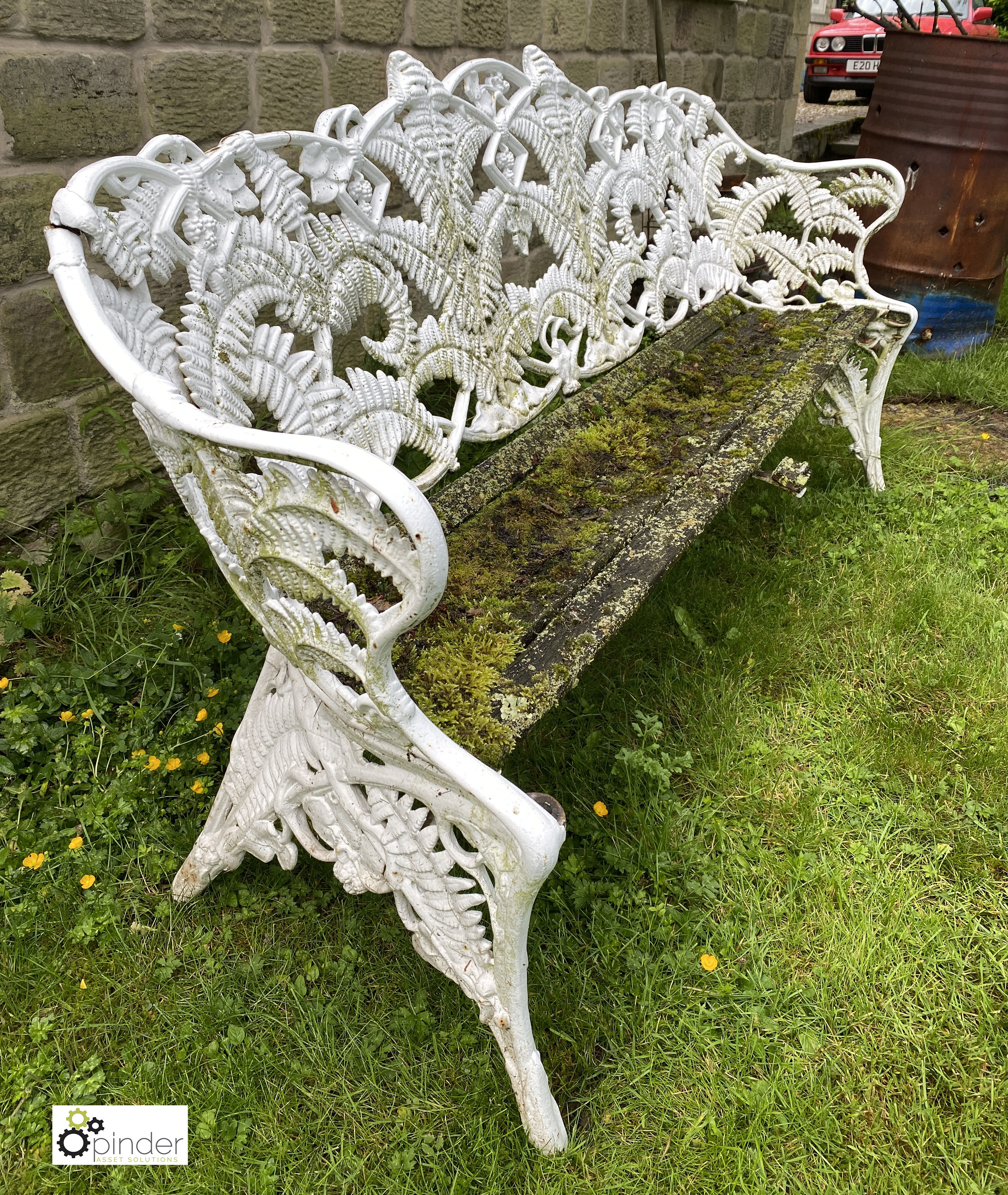 Decorative cast iron Garden Bench, with timber seat, 1890mm wide (LOCATION: Todwick, Sheffield) - Image 2 of 13