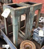 Pair cast iron Bench Ends, 310mm x 240mm x 720mm tall (LOCATION: Sussex Street, Sheffield)