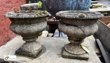 Pair reconstituted stone Garden Urns, 400mm diameter, 400mm tall, base damaged to one urn (LOCATION:
