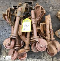 Approx 10 adjustable Trolley Wheels and Supports (LOCATION: Sussex Street, Sheffield)