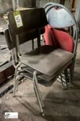 3 tubular framed Folding Chairs and 3 Stackable Chairs