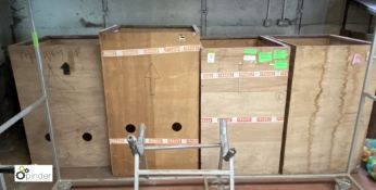 4 various steel framed plywood Storage Boxes