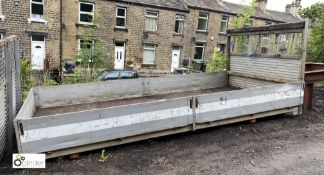 Aluminium framed timber bed Dropside Body, with sides and rear, approx. 4430mm x 2170mm (LOCATION: