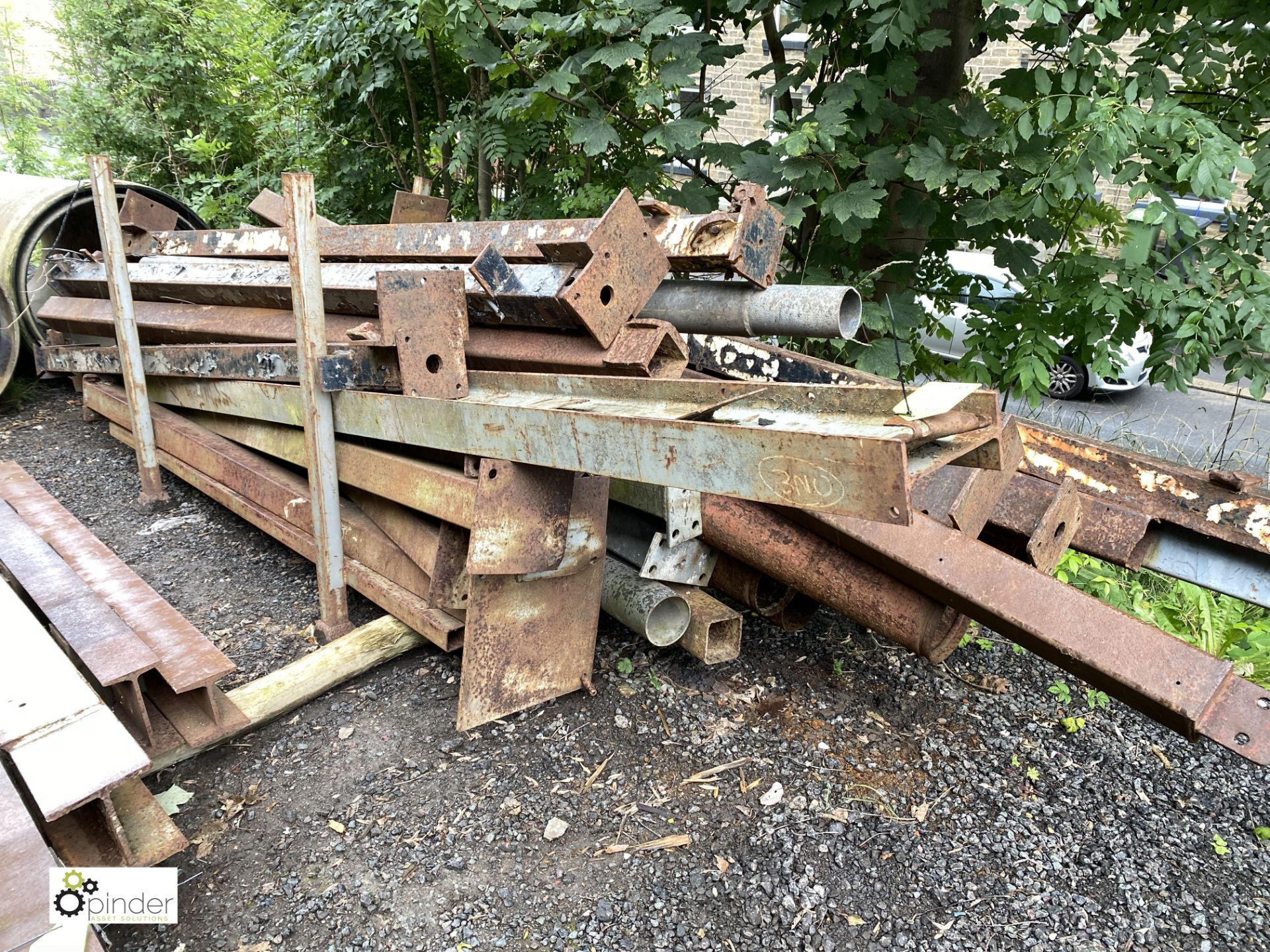 Large quantity Girders/H-Section/Box Section/Columns, etc, to stillage (LOCATION: Woodhead Road) - Image 2 of 3