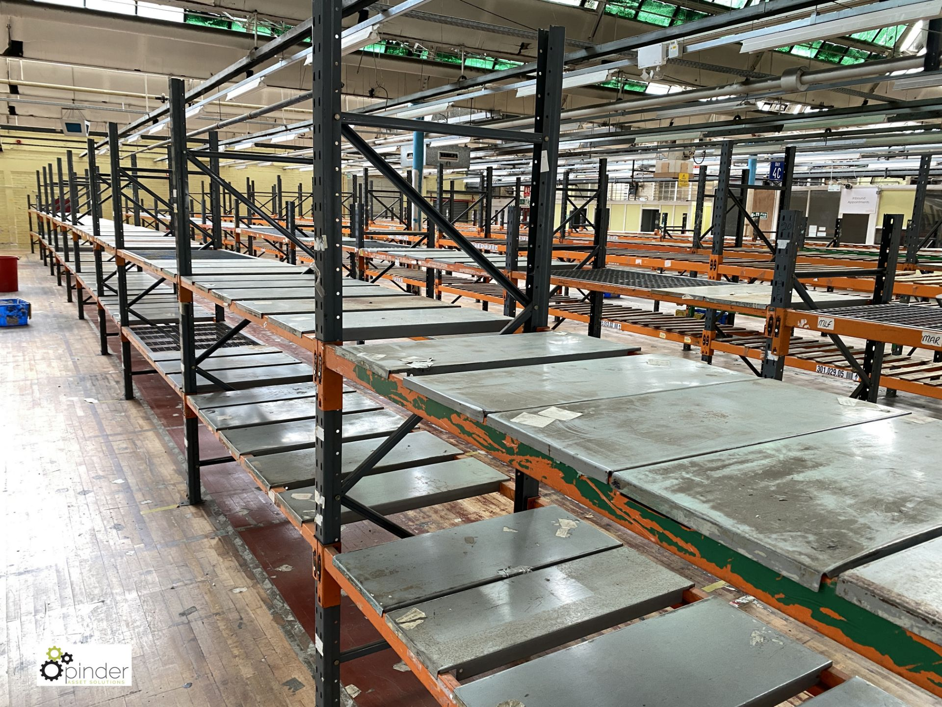 11 bays Dexion Speedlock boltless Racking, comprising 9 uprights 2440mm x 910mm, 3 uprights 1835mm x - Image 2 of 5