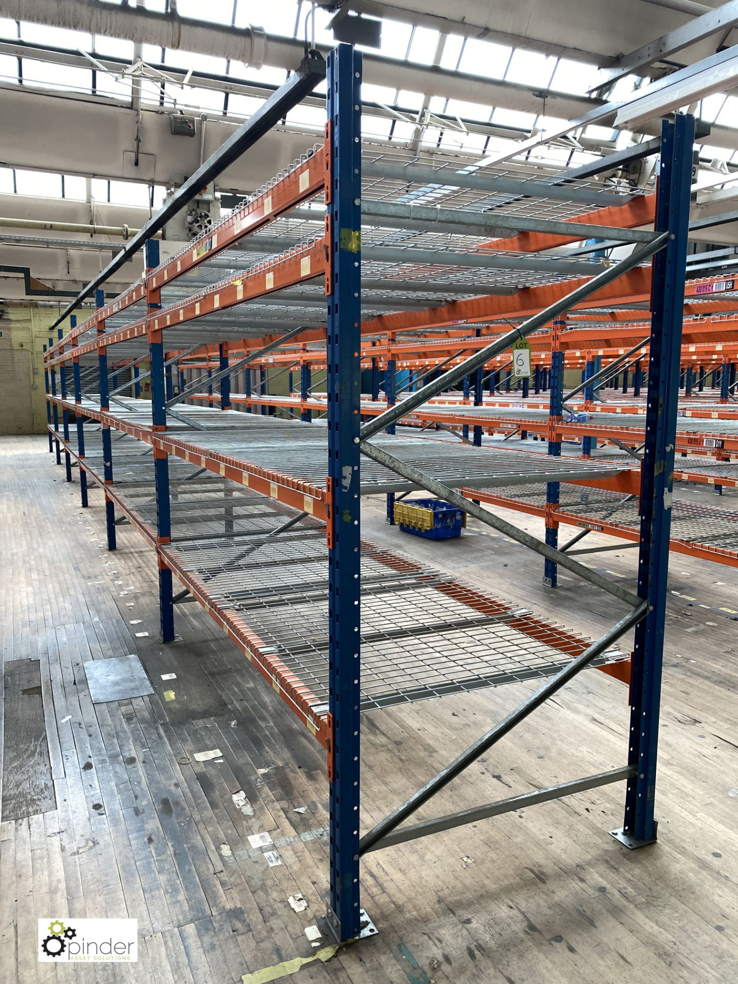 6 bays PSS 2K85 16 boltless Stock Racking, comprising 7 uprights 2400mm x 1200mm, 48 beams 2700mm,