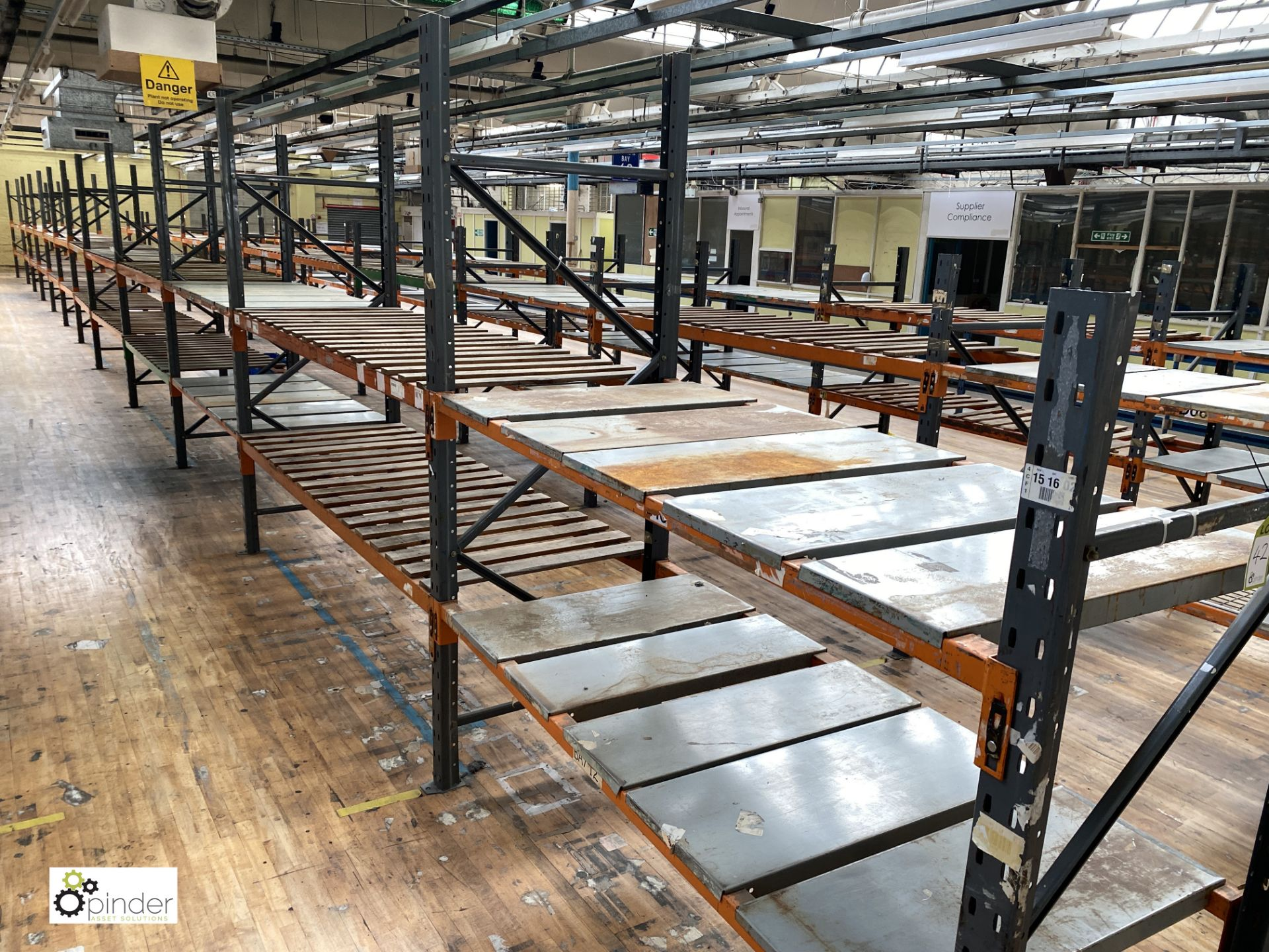 12 bays Dexion Speedlock boltless Racking, comprising 12 uprights 2440mm x 910mm, 1 upright 1835mm x - Image 2 of 5