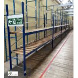 7 bays boltless Racking comprising 9 uprights 2100mm x 620mm, 28 beams 2935mm, 14 timber steel