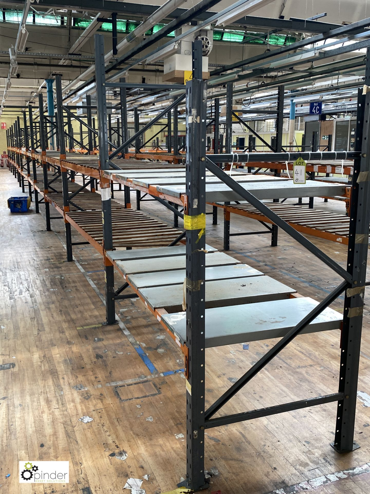 12 bays Dexion Speedlock boltless Racking, comprising 12 uprights 2440mm x 910mm, 1 upright 1835mm x