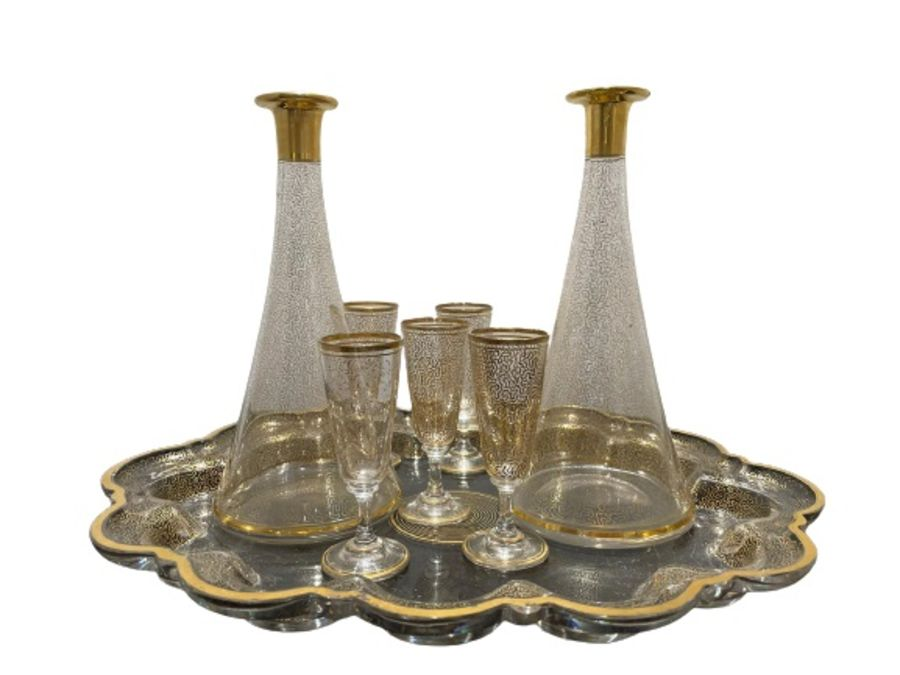 19th Century Bohemian Gold Gilt Glass Decanter Set