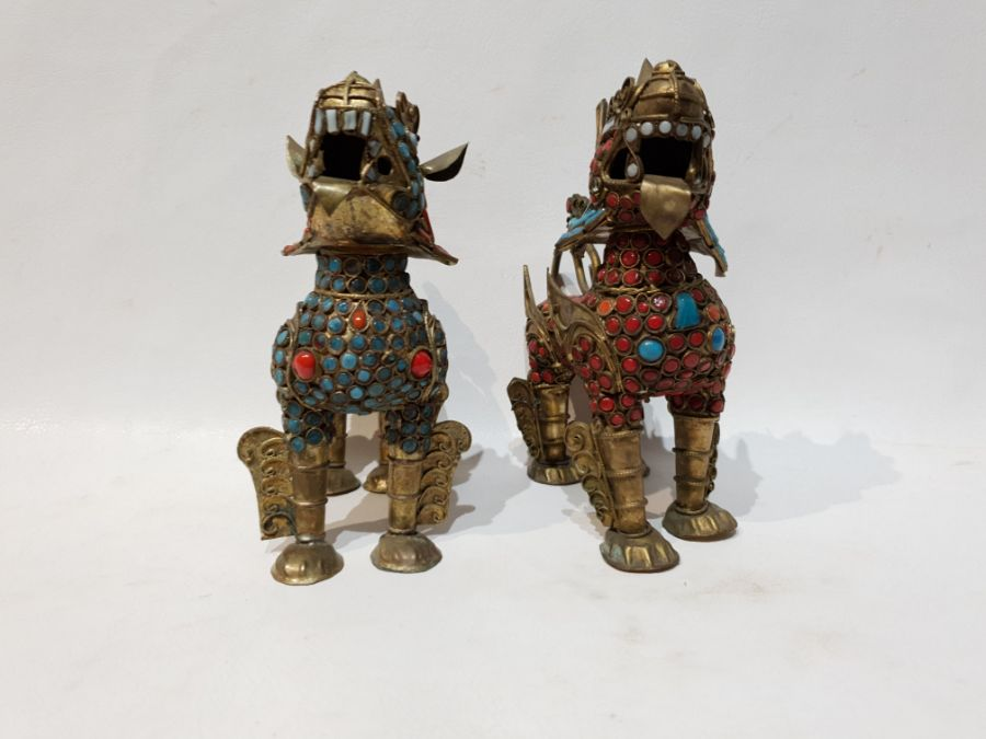 Pair Chinese Brass Lion with Turquoise and Coral with Removable Head - Image 2 of 5