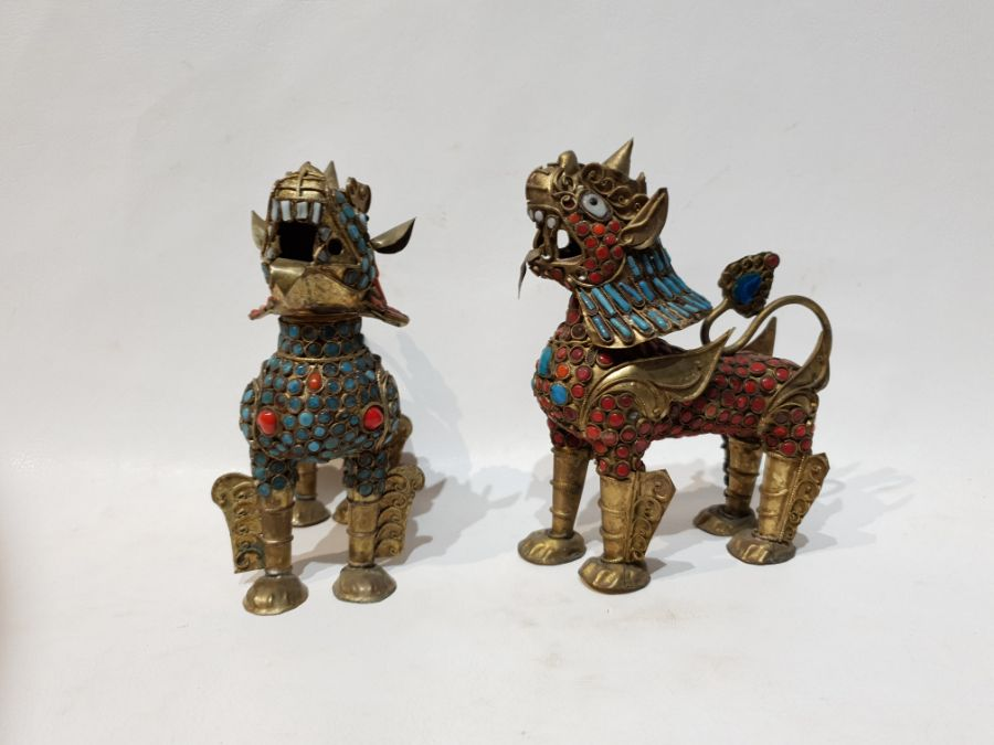 Pair Chinese Brass Lion with Turquoise and Coral with Removable Head - Image 3 of 5