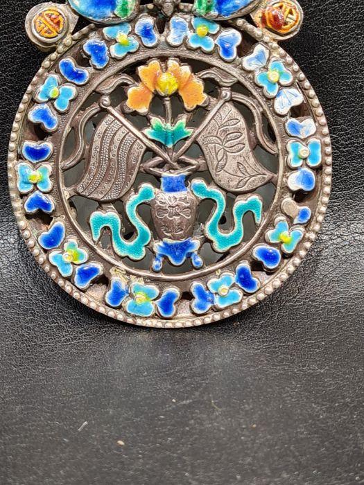 Chinese Jade & Enamel Pendant Set On Silver - Image 5 of 7