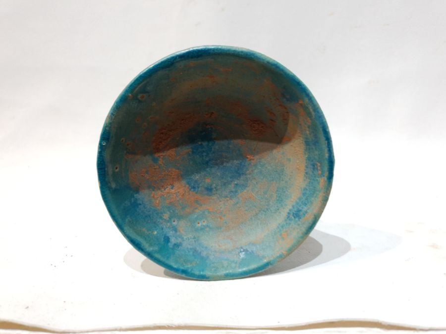 A Small Blue Ceramic Candlestick - Image 4 of 6