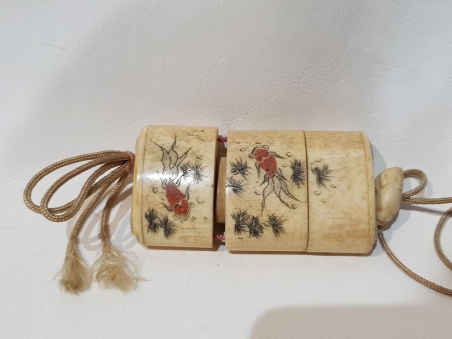 19th Century Japanese Bone Intro Box Decorated with a Koi Fish and Floral Scenery - Image 4 of 5