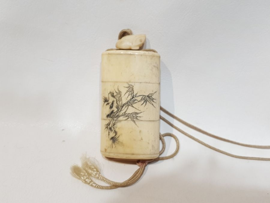 19th Century Japanese Bone Intro Box Decorated with a Koi Fish and Floral Scenery - Image 2 of 5