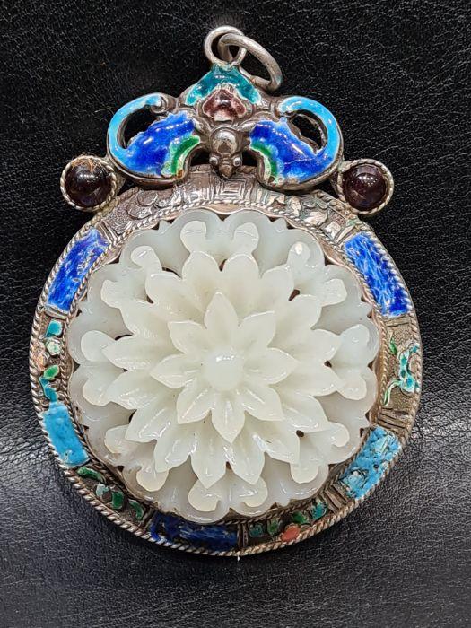 Chinese Jade & Enamel Pendant Set On Silver - Image 7 of 7