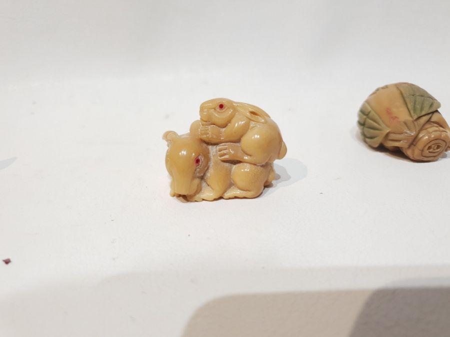 3 Japanese Signed Miniature Okimono Figures - Image 8 of 10
