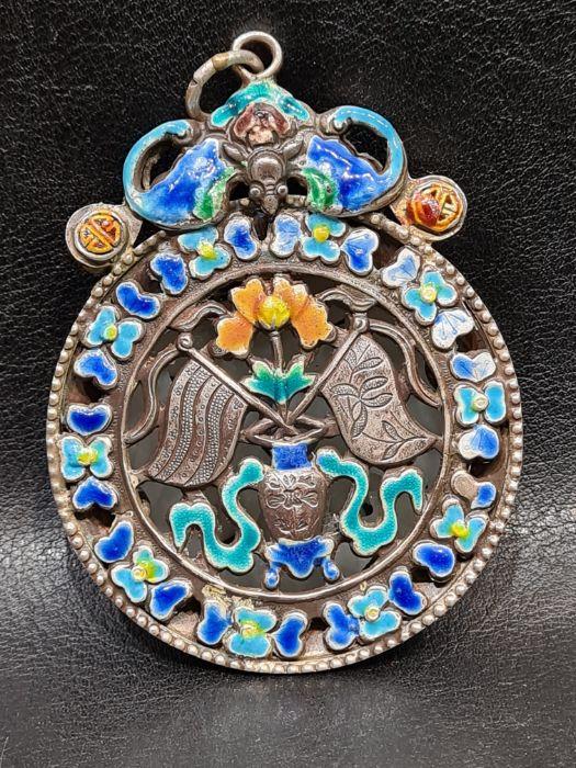 Chinese Jade & Enamel Pendant Set On Silver - Image 4 of 7