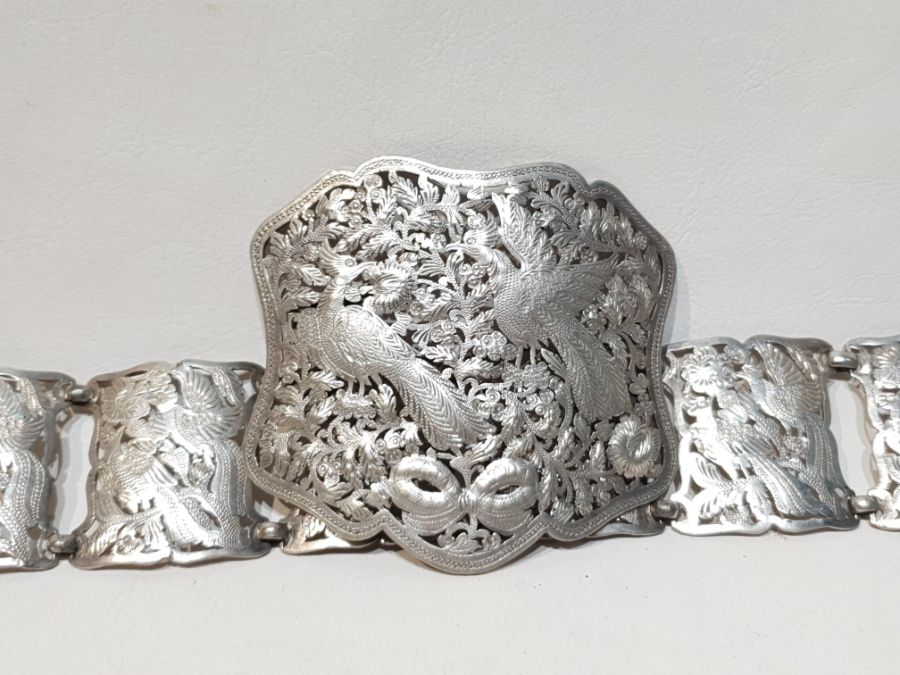 An Solid Silver Indonesian Engraved Belt