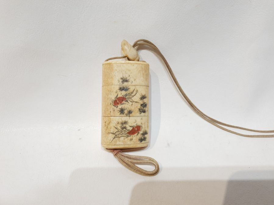19th Century Japanese Bone Intro Box Decorated with a Koi Fish and Floral Scenery