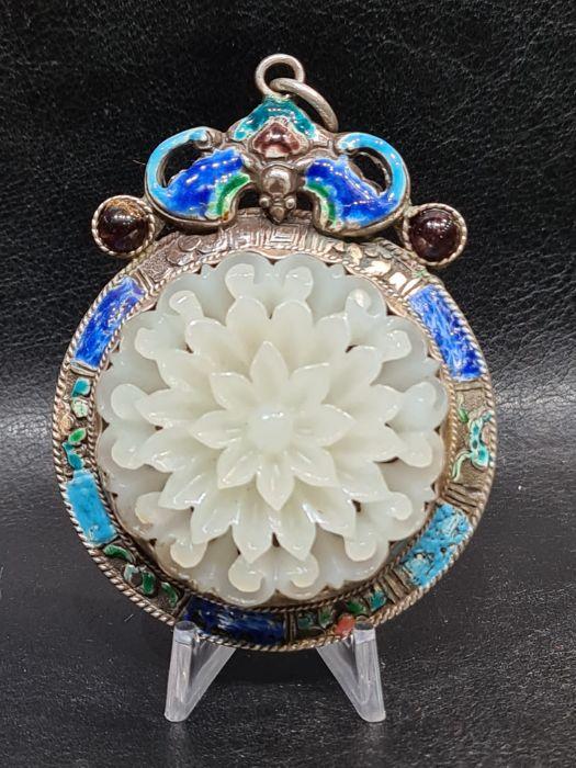 Chinese Jade & Enamel Pendant Set On Silver