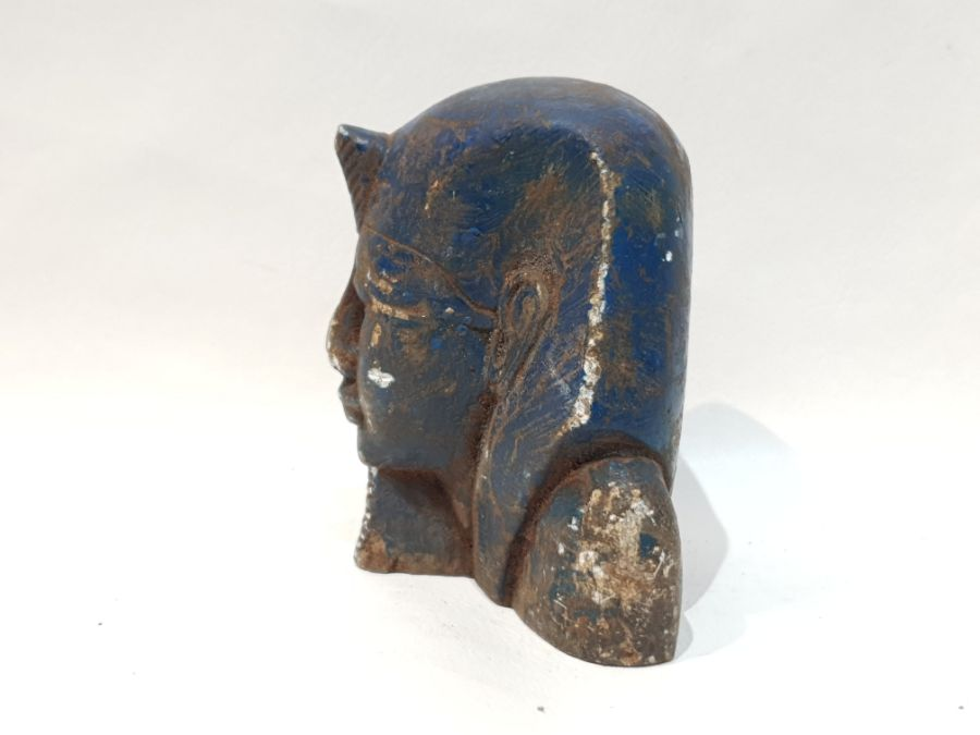 A Blue Ancient Egyptian Stone Pharaoh Head - Image 4 of 6
