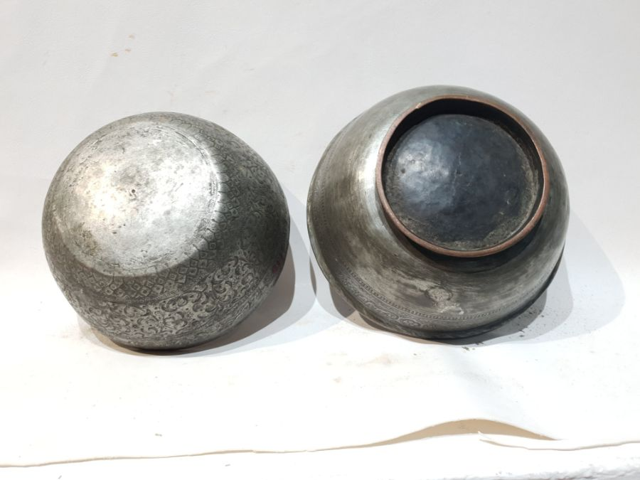 2 Islamic Metal Bowls Each with Unique Engravings - Image 7 of 7