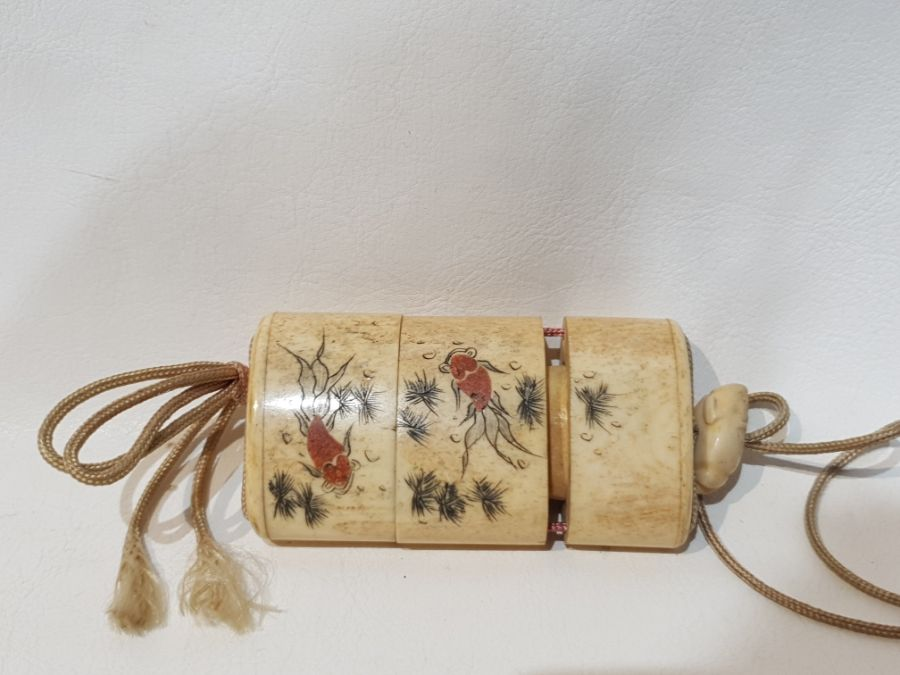 19th Century Japanese Bone Intro Box Decorated with a Koi Fish and Floral Scenery - Image 3 of 5