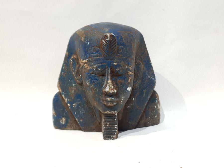 A Blue Ancient Egyptian Stone Pharaoh Head