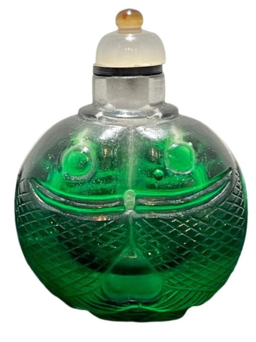 19th Century Chinese Piking Glass Snuff Bottle With Koi Fish Scales