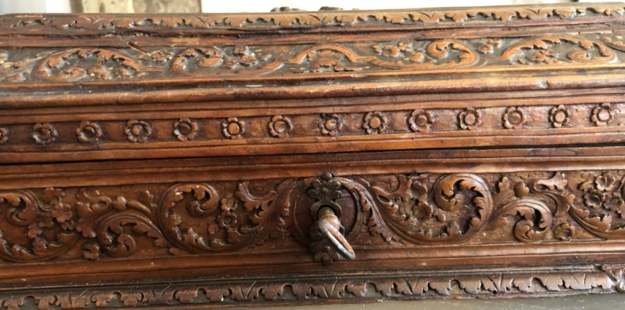 17th Century French Carved Chestnut Box - Image 7 of 9