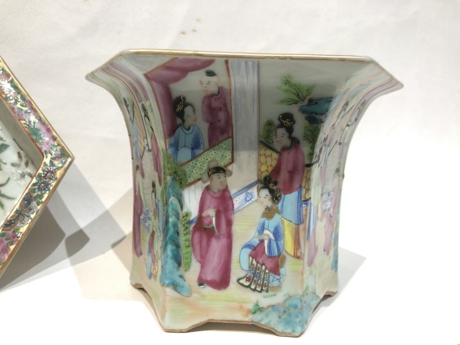 19th Century Pair Of Chinese Famille Rose Panelled Planters - Image 10 of 15