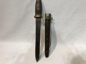 Japanese Short Tanto Sword With Tokugawa Clan Kiri Mon 19th Century