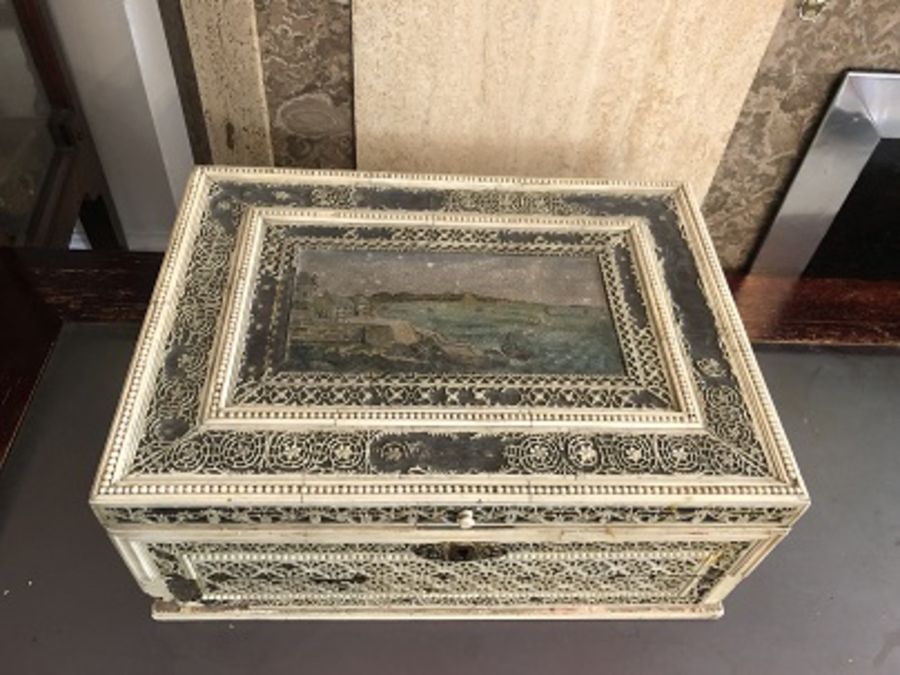18th Century Russian Walrus Ivory Carved Box With Oil Painting - Image 8 of 16