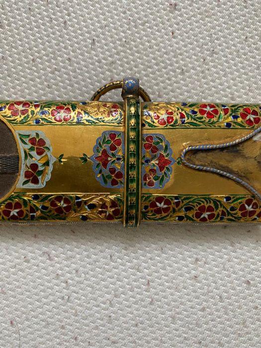 18TH CENTURY GOLD ENAMEL IVORY AND STEEL SHAMSHIR SWORD - Image 15 of 21