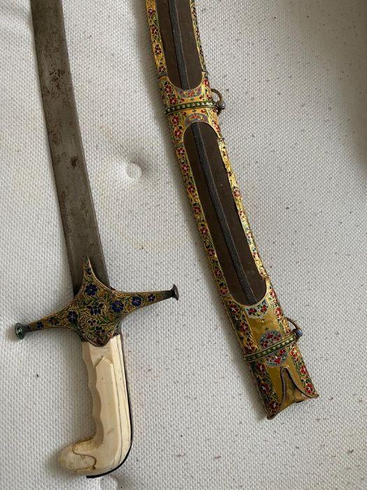 18TH CENTURY GOLD ENAMEL IVORY AND STEEL SHAMSHIR SWORD - Image 18 of 21