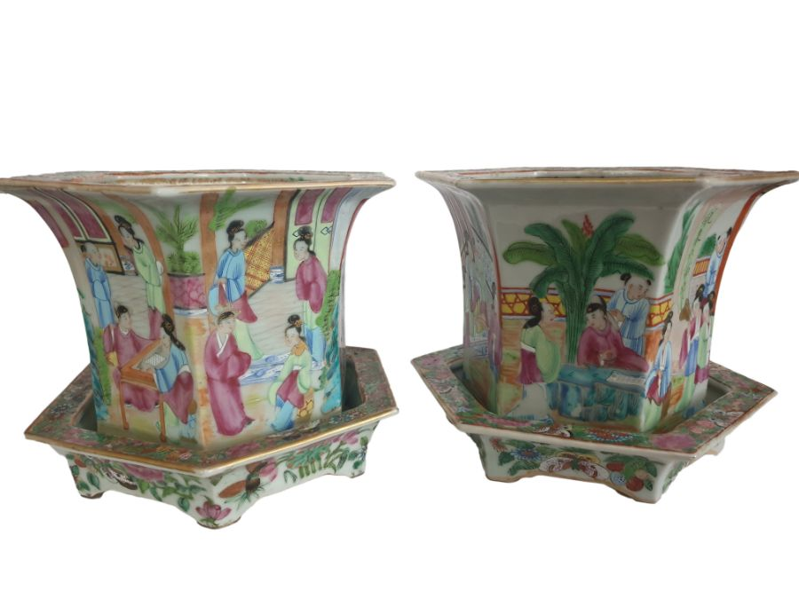 19th Century Pair Of Chinese Famille Rose Panelled Planters
