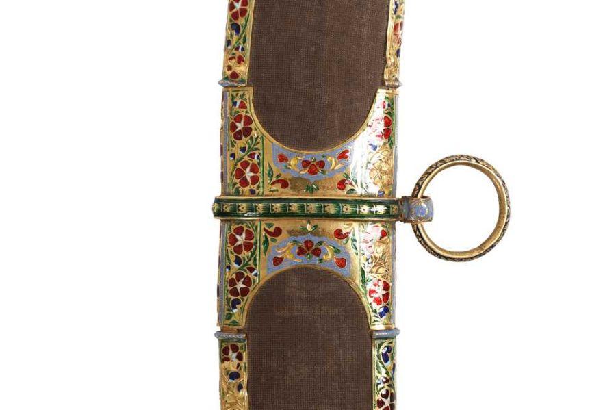 18TH CENTURY GOLD ENAMEL IVORY AND STEEL SHAMSHIR SWORD - Image 7 of 21