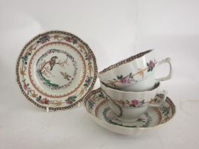 Pair Of 19th Century Chinese Export Bird Cups & Saucers