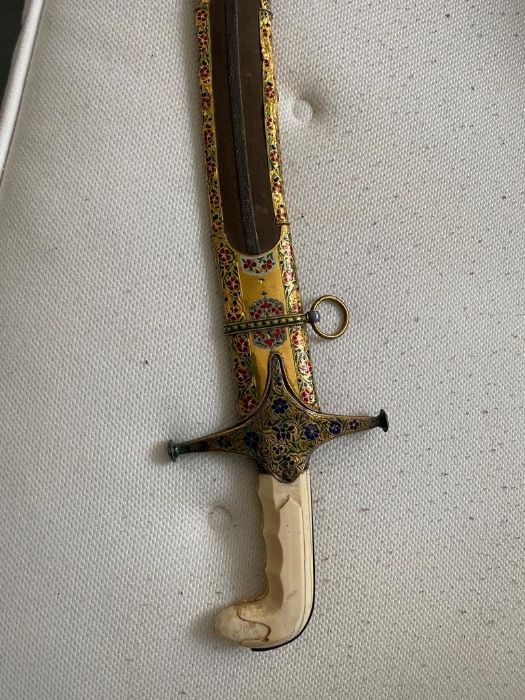 18TH CENTURY GOLD ENAMEL IVORY AND STEEL SHAMSHIR SWORD - Image 12 of 21