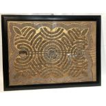 Framed Gold Textile Depicts 3 parts of hajj With Calligraphic Inscriptions