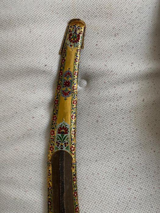 18TH CENTURY GOLD ENAMEL IVORY AND STEEL SHAMSHIR SWORD - Image 17 of 21