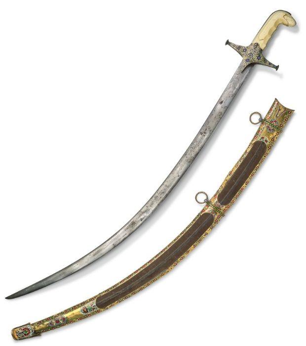 18TH CENTURY GOLD ENAMEL IVORY AND STEEL SHAMSHIR SWORD