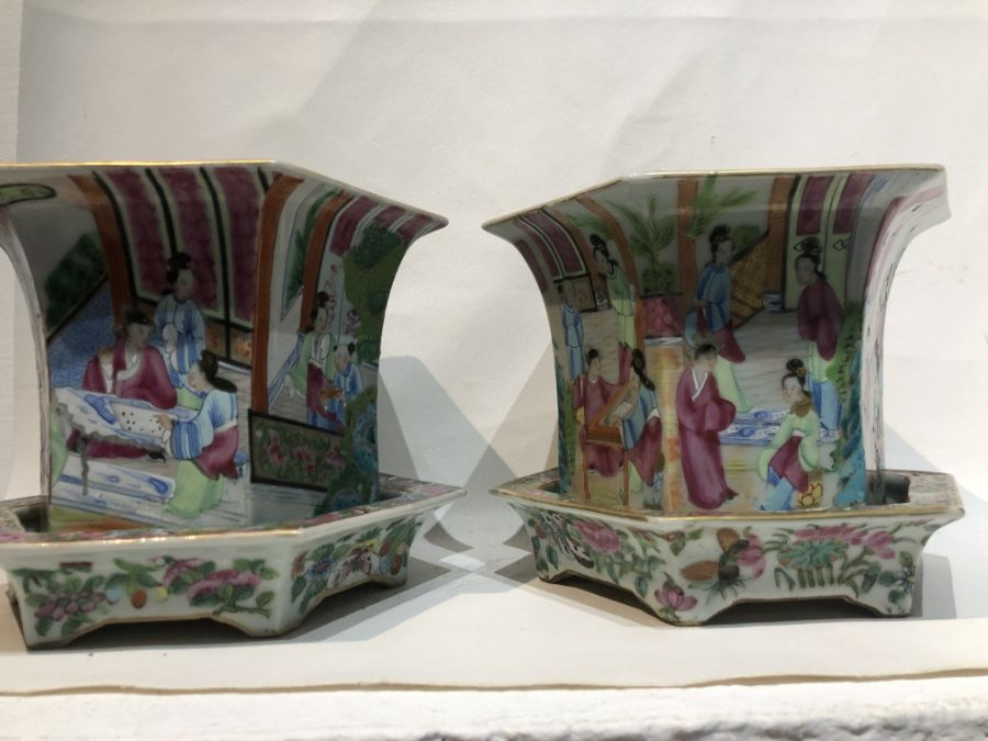19th Century Pair Of Chinese Famille Rose Panelled Planters - Image 7 of 15